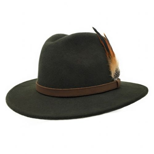 Green Wool Fedora Hat - Showerproof - Arizona